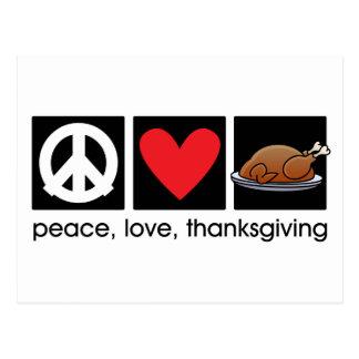 Paz, amor, postal de la acción de gracias
