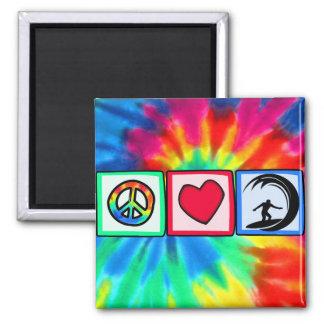 Paz, amor, practicando surf imán cuadrado