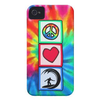 Paz, amor, practicando surf iPhone 4 Case-Mate cárcasa