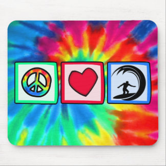 Paz amor practicando surf tapete de ratón