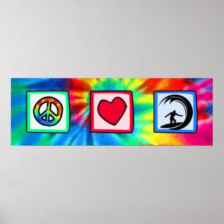 Paz, amor, practicando surf impresiones