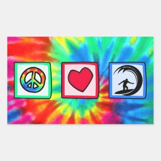 Paz, amor, practicando surf rectangular pegatinas