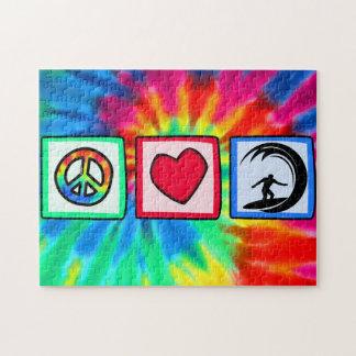Paz amor practicando surf rompecabeza