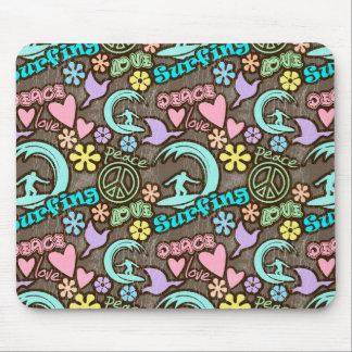 Paz, amor, practicando surf alfombrilla de ratón