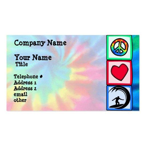 Paz, amor, practicando surf tarjetas de visita