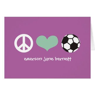 Paz, amor, púrpura del fútbol tarjeta pequeña