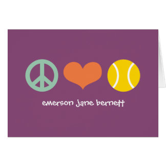 Paz, amor, púrpura del tenis tarjeta pequeña