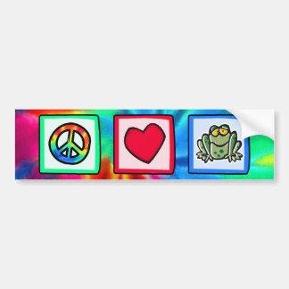 Paz, amor, ranas etiqueta de parachoque