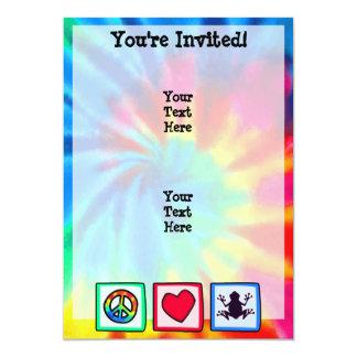 Paz, amor, ranas invitación 12,7 x 17,8 cm