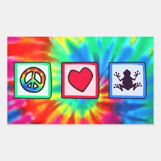 Paz, amor, ranas pegatina rectangular