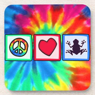 Paz, amor, ranas posavaso