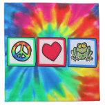 Paz, amor, ranas servilletas