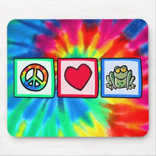 Paz, amor, ranas tapete de ratones