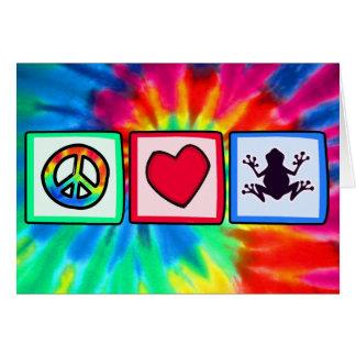 Paz, amor, ranas tarjeta de felicitación