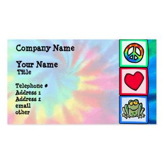 Paz, amor, ranas tarjetas de visita