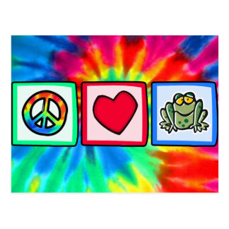 Paz, amor, ranas tarjetas postales