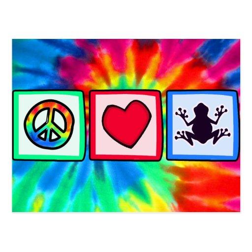 Paz, amor, ranas postales