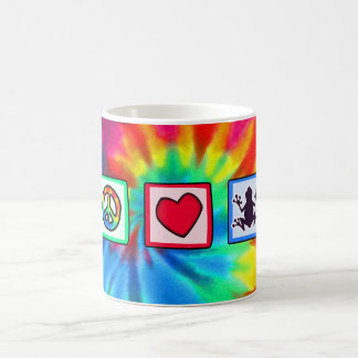 Paz, amor, ranas tazas de café