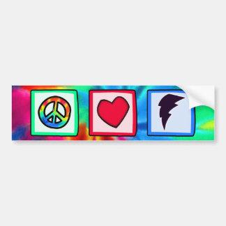 Paz, amor, rayo pegatina para auto