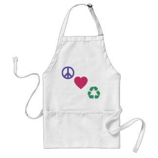 Paz, amor, reciclando delantal