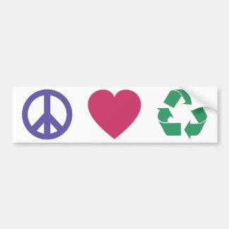 Paz amor reciclando etiqueta de parachoque