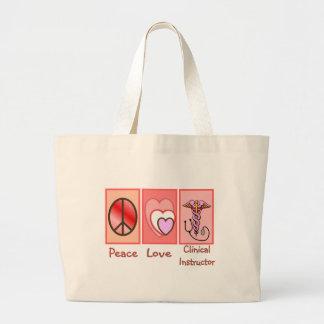 Paz, amor, regalos clínicos del instructor bolsa tela grande