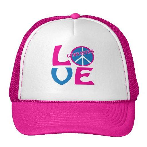 Paz, amor, regalos de la gimnasia y ropa gorra