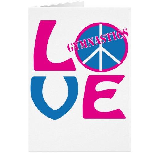 Paz, amor, regalos de la gimnasia y ropa tarjeta de felicitación