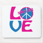 Paz, amor, regalos del fútbol y ropa para las muje tapete de raton