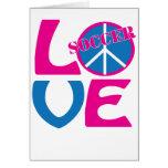 Paz, amor, regalos del fútbol y ropa para las muje tarjeta