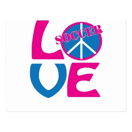 Paz, amor, regalos del fútbol y ropa para las postal