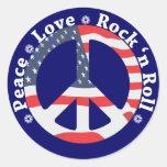 Paz, amor, rollo de la roca n etiqueta redonda