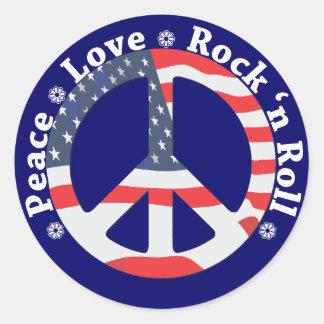 Paz, amor, rollo de la roca n pegatina redonda