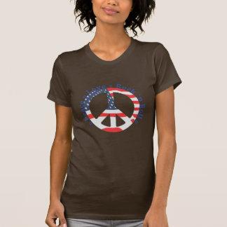 Paz, amor, rollo de la roca n camisetas
