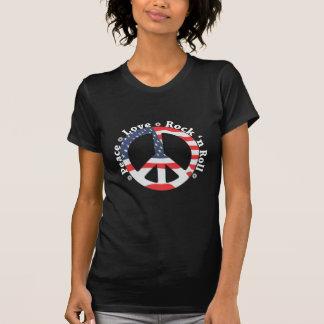 Paz, amor, rollo de la roca n camiseta