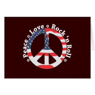 Paz, amor, rollo de la roca n felicitacion