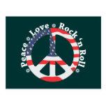 Paz, amor, rollo de la roca n tarjeta postal