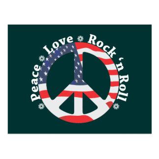 Paz, amor, rollo de la roca n postal