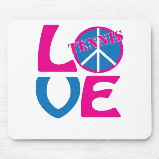 Paz, amor, ropa del tenis y regalos tapete de ratones