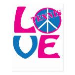 Paz, amor, ropa del tenis y regalos tarjeta postal