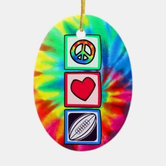 Paz, amor, rugby ornamento para arbol de navidad