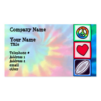 Paz, amor, rugby plantilla de tarjeta de negocio
