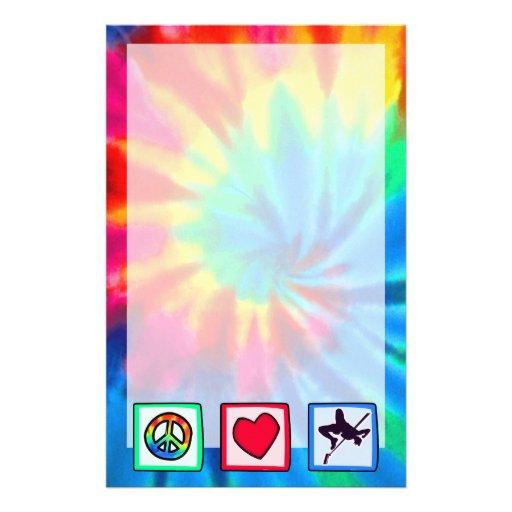 Paz, amor, salto de altura personalized stationery