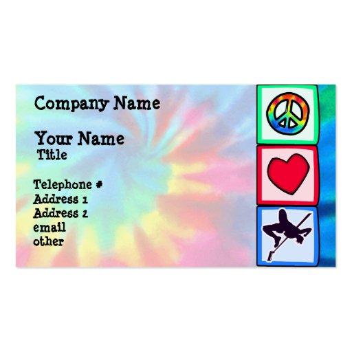 Paz, amor, salto de altura tarjetas de visita