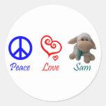 Paz, amor, Sam las ovejas Pegatina Redonda