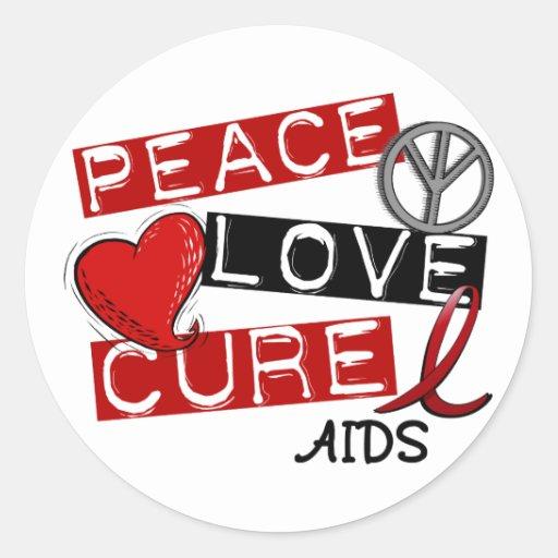 Paz, amor, SIDA de la curación Pegatina Redonda