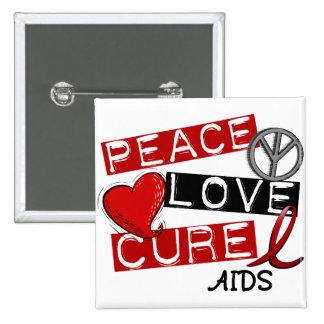 Paz, amor, SIDA de la curación Pin Cuadrado