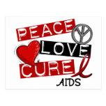 Paz, amor, SIDA de la curación Postal