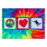 Paz, amor, snowboard felicitacion