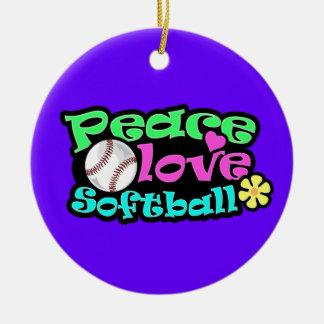Paz, amor, softball adorno navideño redondo de cerámica